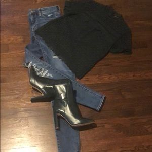 Zara dark green leather booties